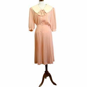 Ms Chaus Vintage 80's Pleated Dress Soft Peach